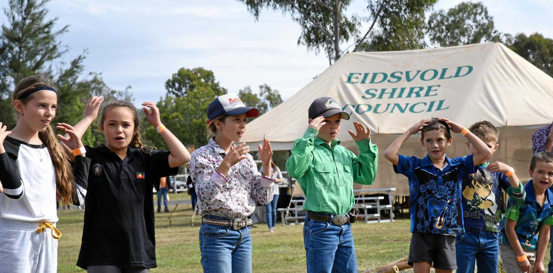 CULTURAL LEARNING: Eidsvold State School students opened the Bush Spirit Festival with a Wakka Wakka performance.