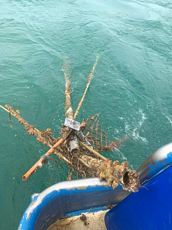 Debris caught in commercial fishing nets by Mackay fishers.