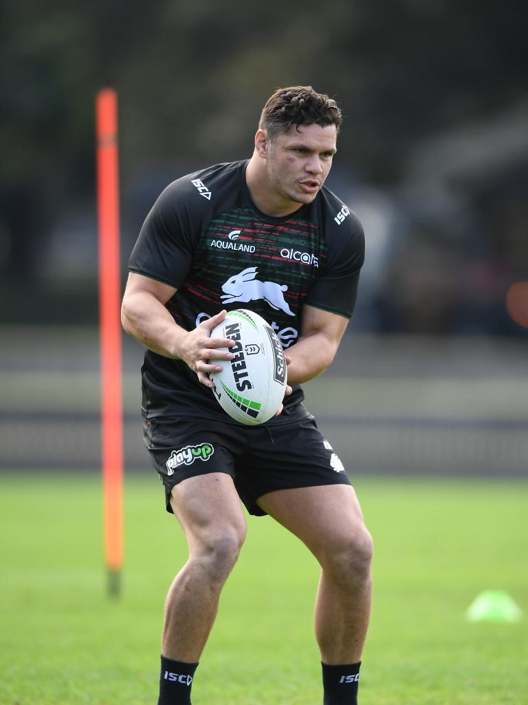 South Sydney Rabbitohs player James Roberts takes part in his first team training session. Picture: AAP