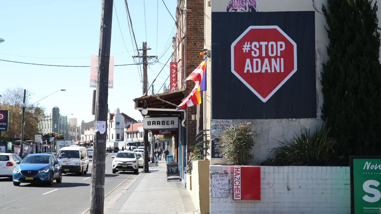 An anti-Adani sign posted in the street in Grayndler.
