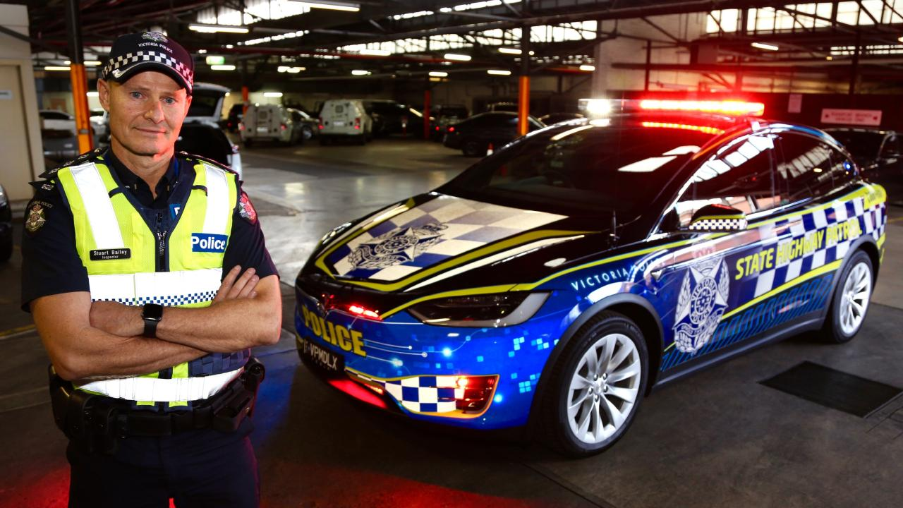 Victoria Police Tesla Model X highway patrol car with Inspector Stuart Bailey.