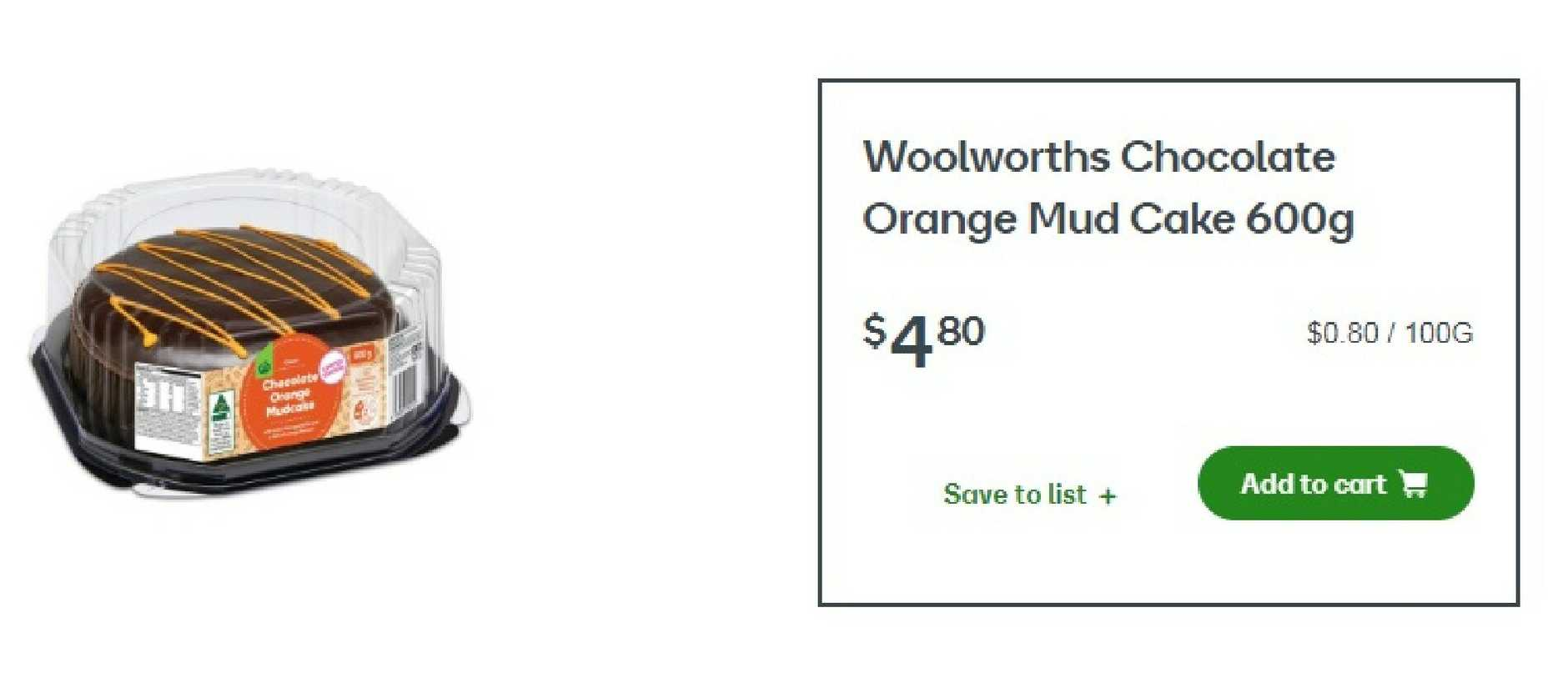 The brand new choc orange cake will set you back $4.80. Picture: Woolworths