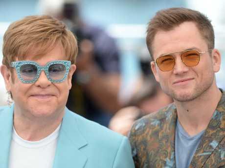 Elton John and Taron Egerton, who stars in Rocketman. Picture: Matrix Pictures