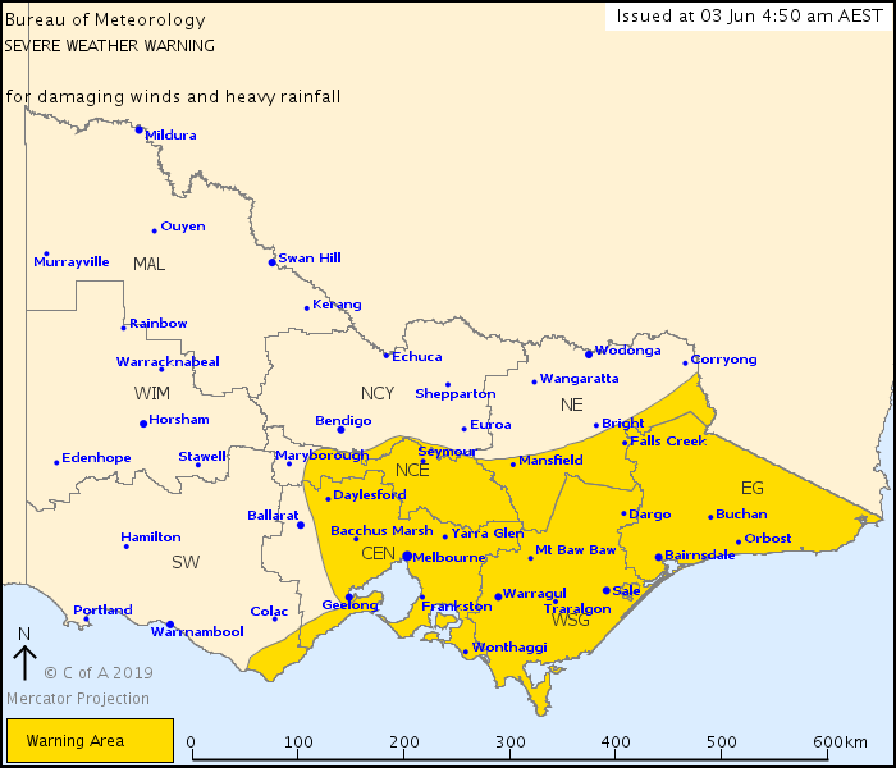 A weather warning has been issued for Victoria.