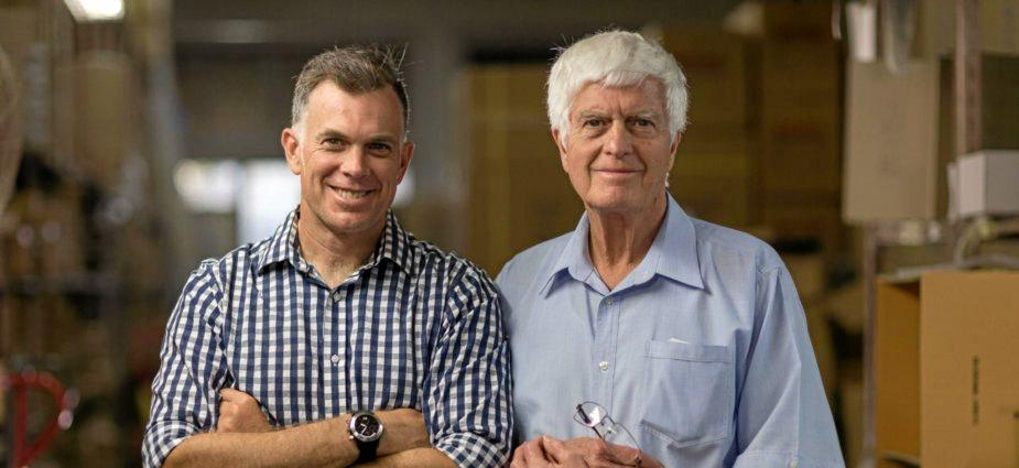 WATCHING THE CLOCK: Brisbane father and son duo, Bob (right) and Grant Menzies of Adina Watches.