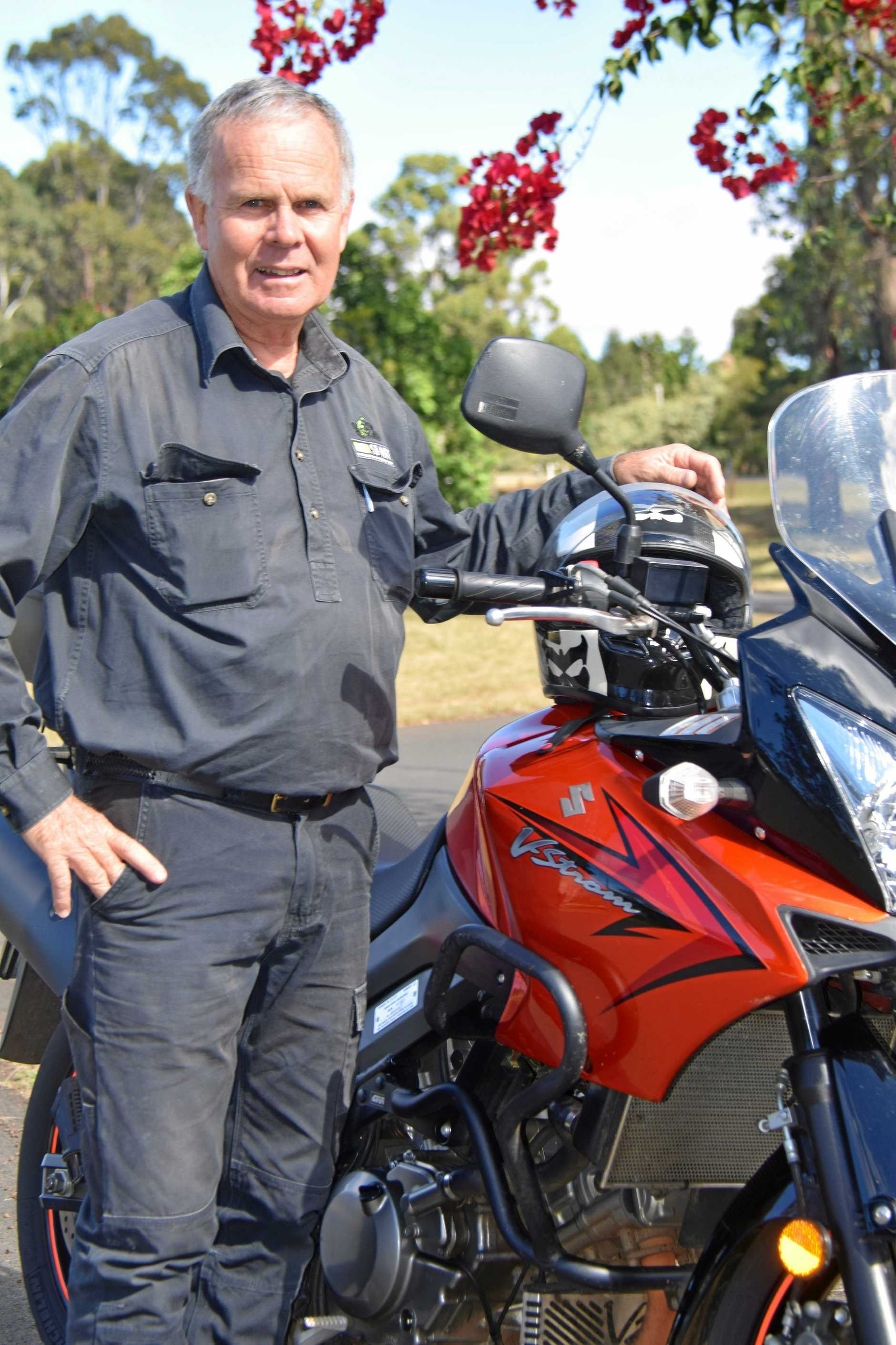 SLOW DOWN: Kingaroy motorcycle trainer, Col Rogerson offers sound advice to motorcyclists.