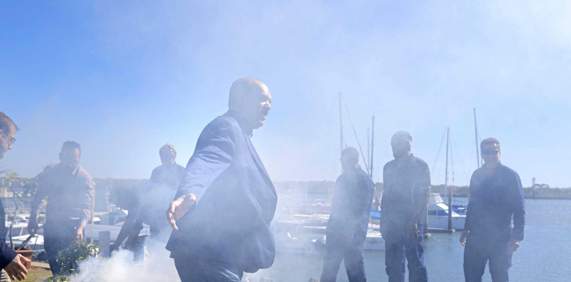 SMOKING CEREMONY: Kerry Blackman at the smoking ceremony at the Bundaberg Port Marina.