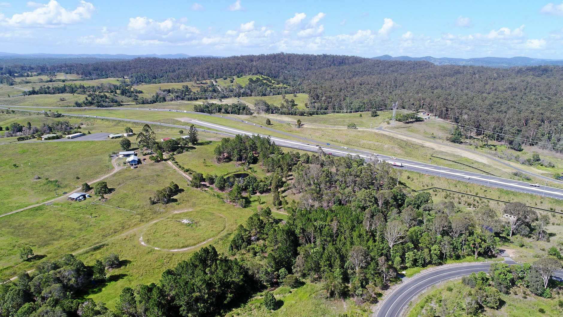 The end of Section C and starting point of Section D (Gympie Bypass) of the Bruce Highway.