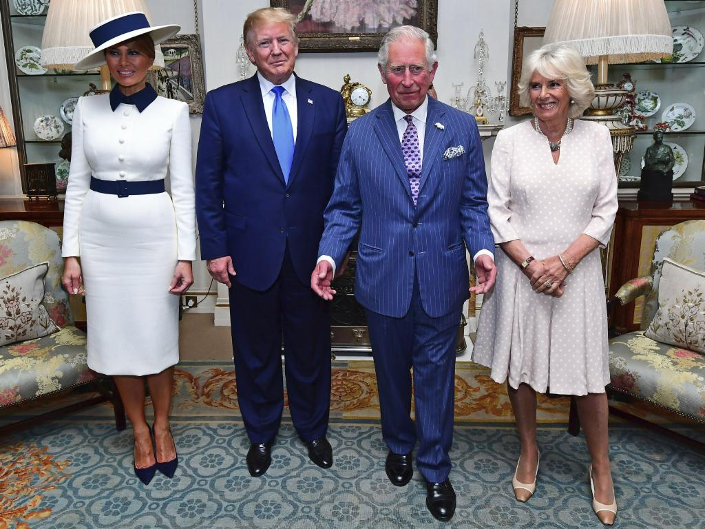 Melania Trump's outfit complemented that of Camilla, Duchess of Cornwall. Picture: Victoria Jones/Pool Photo via AP