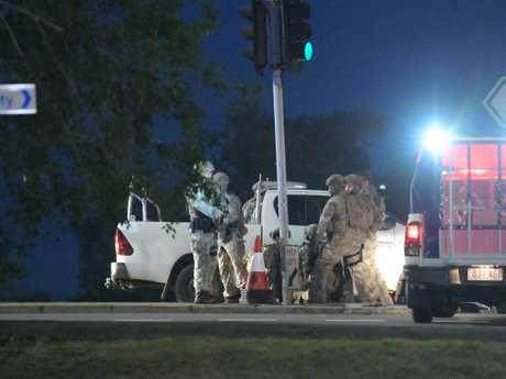 A man is held down by police in Darwin. Picture: Keri Megelus