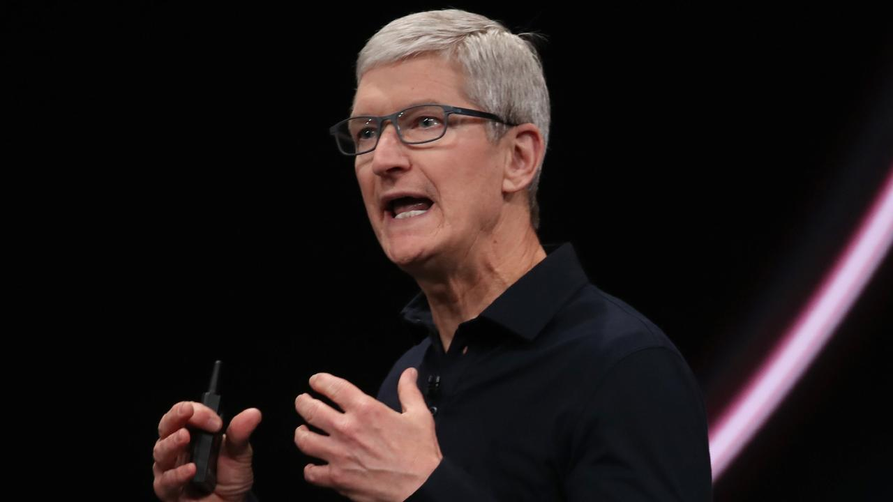 Apple chief executive Tim Cook speaks at the Apple Worldwide Developers' Conference in San Jose, California, on June 3, 2019. Picture: AP/Jeff Chiu