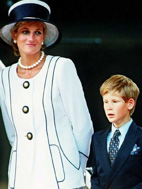 Diana Princess of Wales with Prince Harry at the VJ Day ceremony in 1995. Picture: Supplied