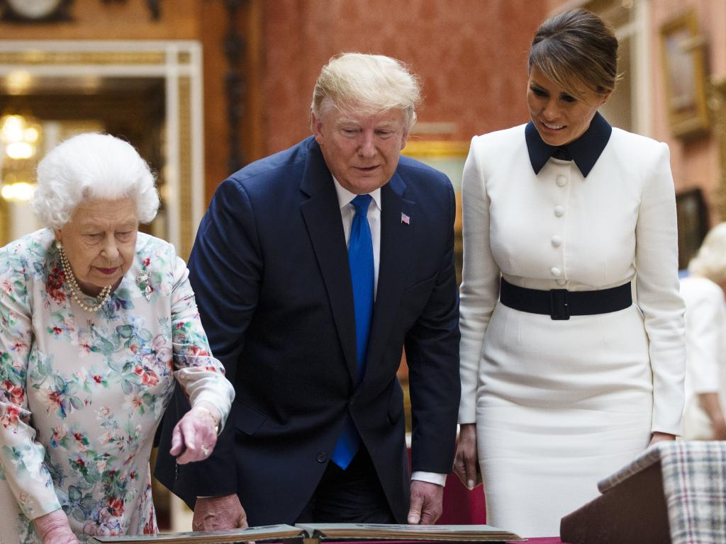 Queen Elizabeth II, US President Donald Trump and First Lady Melania Trump at Buckingham Palace on June 3, 2019 in London. Picture: Ian Vogler/Getty Images