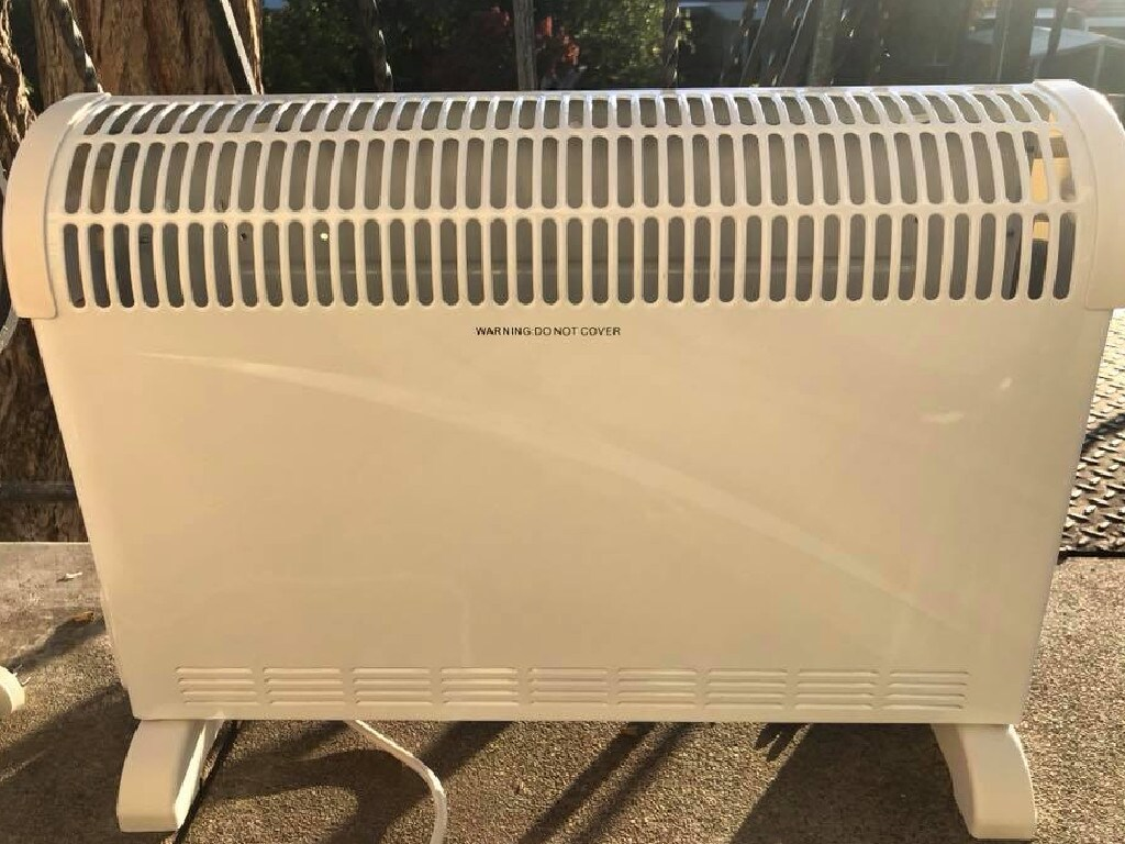 The Kmart convection heater burst into flames 45 seconds after it was plugged in.