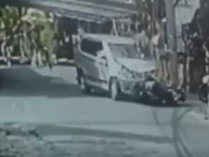 Moment mum, daughter thrown in Bali horror scooter smash