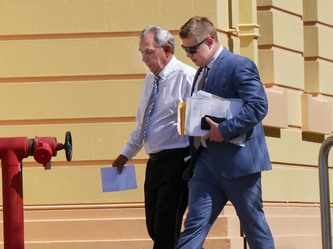 Edward Jeremy Liddicoat, 72, who is accused of exposing himself to a child, leaves Maryborough Magistrates Court with his lawyer John Willett.