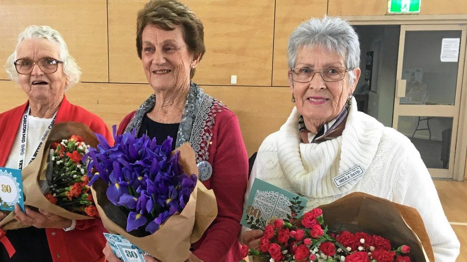 CONGRATULATIONS: The Toowoomba Quilters club's latest octogenarians are Audrey, Ann and Sheila.