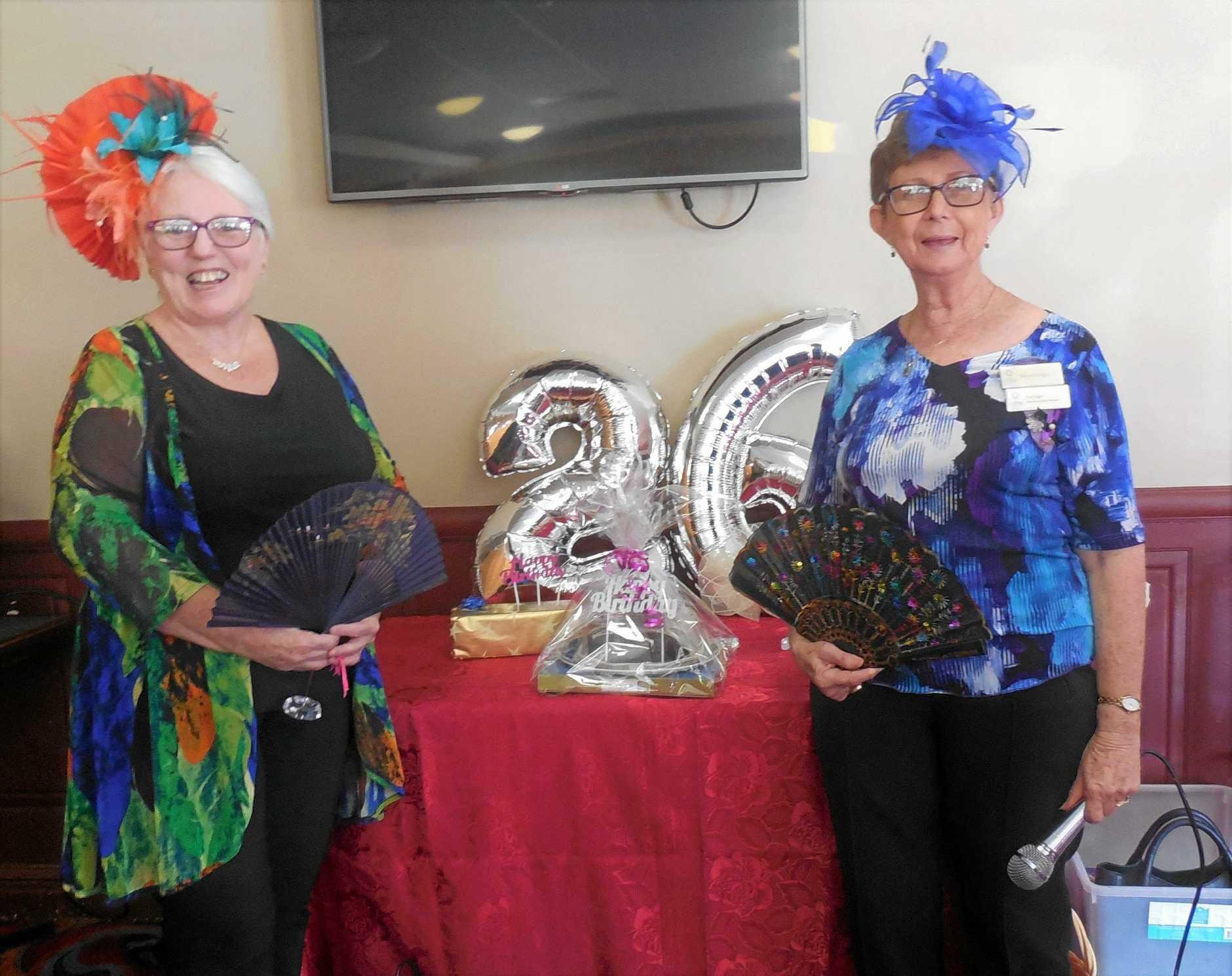 VIEW Zone Councillor Evelyn Berg (left) and Burleigh Palm Beach Club President Nancye Mulligan enjoying 26th birthday celebrations.