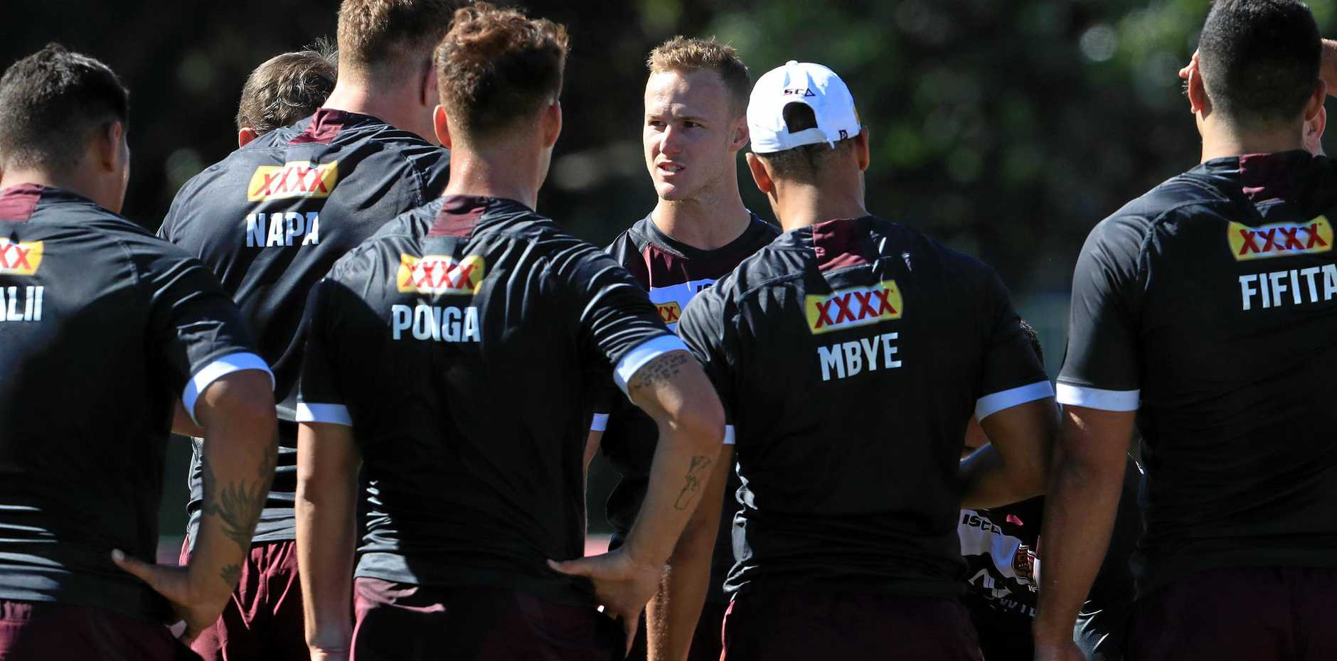 Daly Cherry-Evans addresses his team during a Queensland State of Origin training session.  Photo: Adam Head