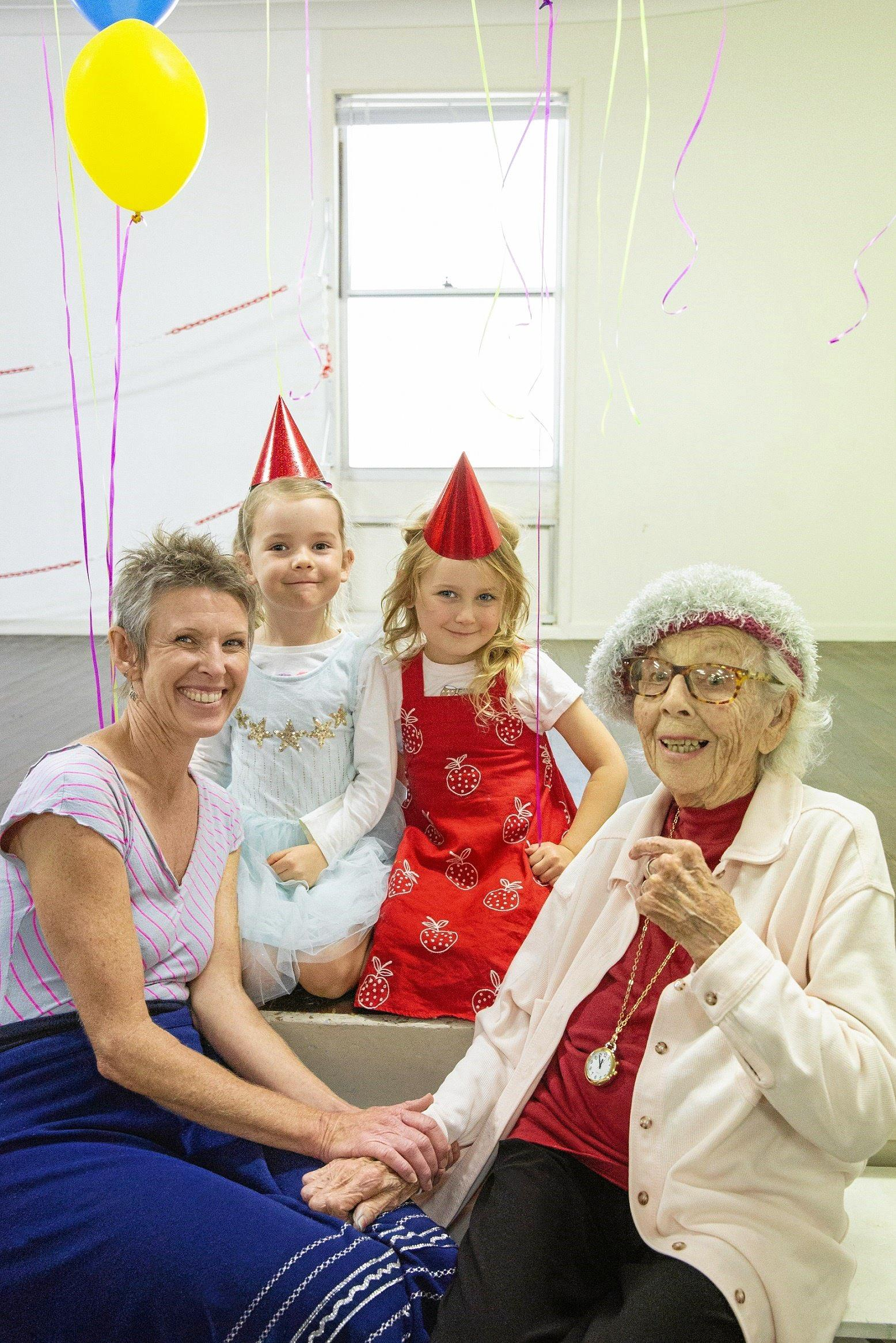ON POINTE: Ballet teacher Leisel Fitzgerald and Feros Village Byron Bay resident Jilly Richardson (99) with preschoolers Silvy Gohra and Florence Giutronich.