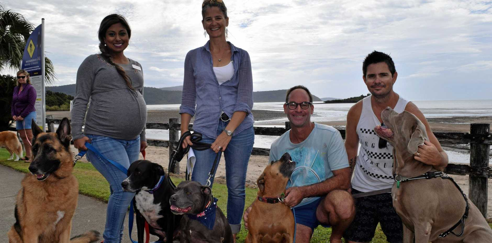 FURRY FRIENDS: Rowena Kissun with Ned and Douglas, Amy Close with Bosun, Craig Watson with Stella and Dwaine Reha with Lolli .