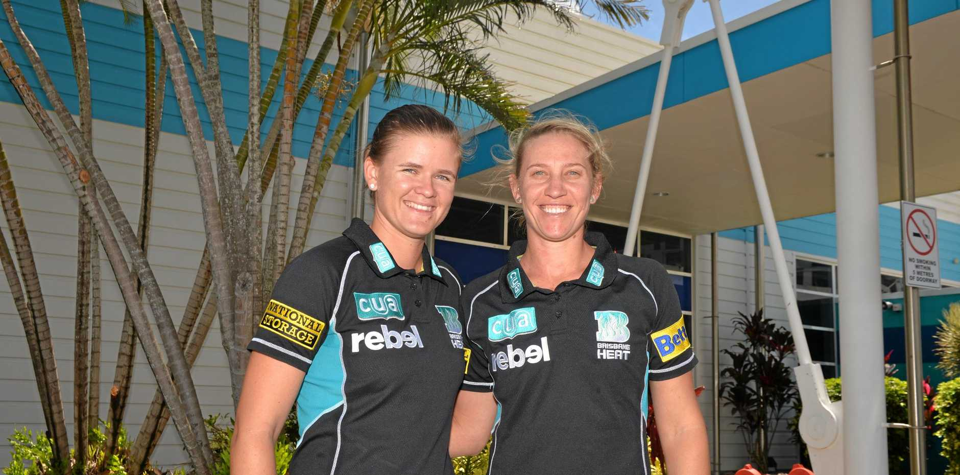SELECTION: Ashes tourists Jess Jonassen and Delissa Kimmince before a Brisbane Heat WBBL game in Mackay in January.