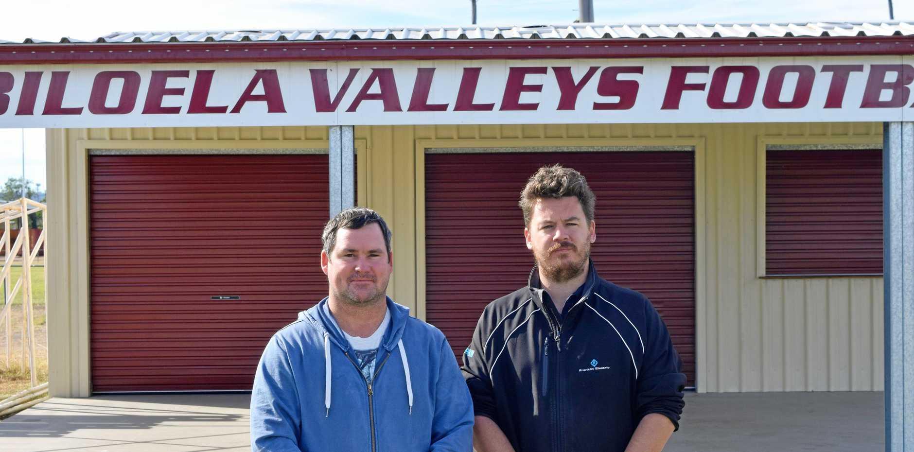 HAD ENOUGH: Biloela Valleys FC president Bradley Smith and vice president Joshua Harlick have had enough of vandals targeting sporting clubs in Biloela.