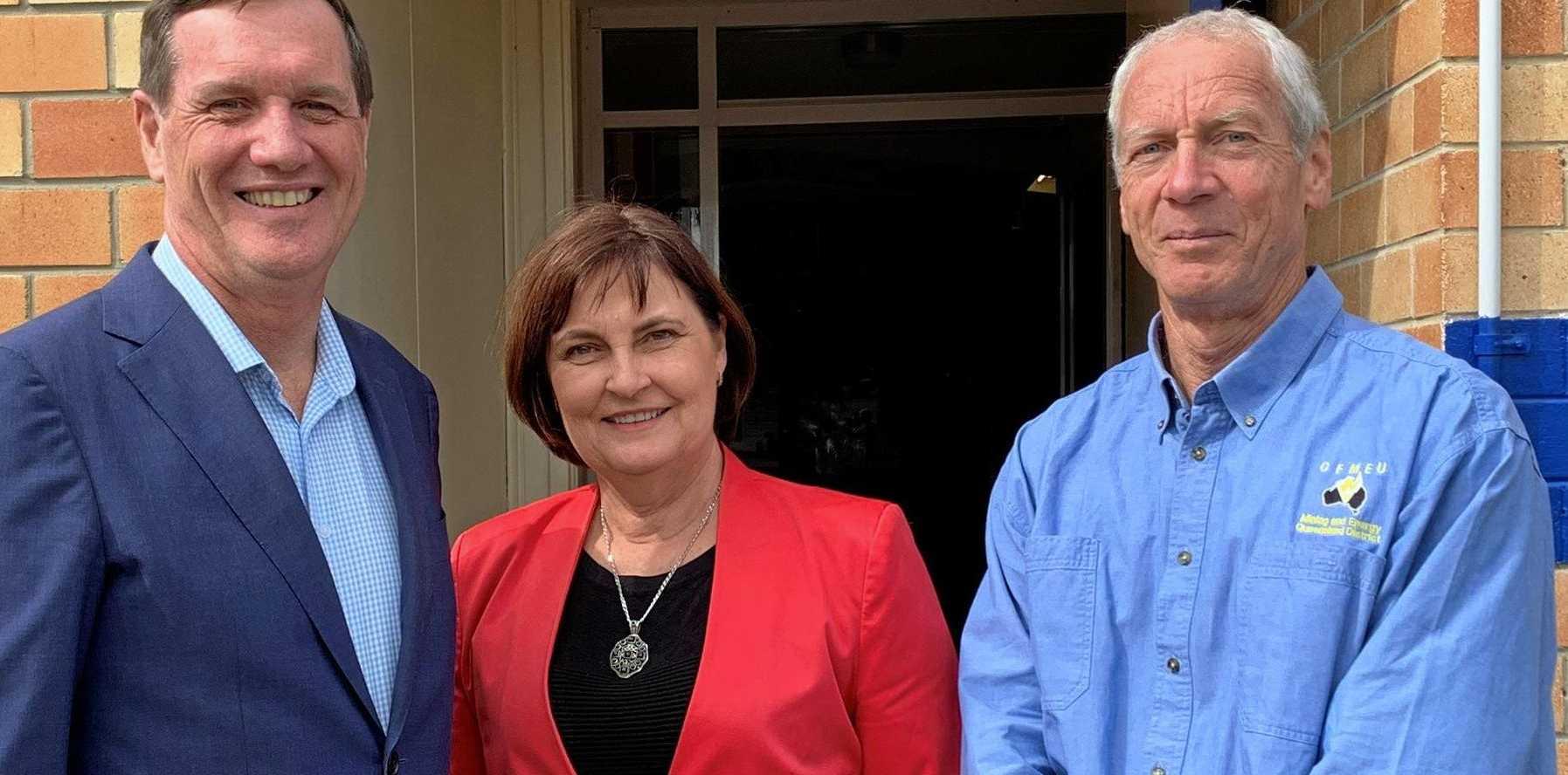 Queensland Mines Minister Anthony Lynham, Mackay MP Julieanne Gilbert and CFMEU district vice president Steve Pierce.