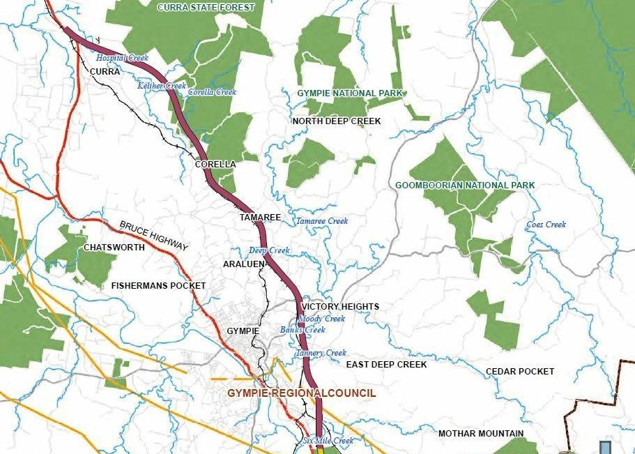Proposed route of the Section D Bruce Highway upgrade, which the State says has not changed and will be presented to the public once consultations are finished.