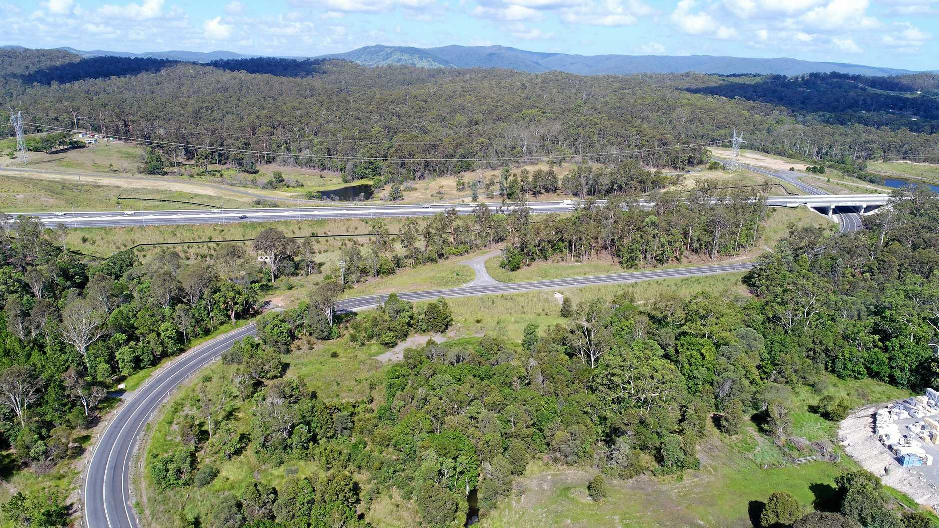 Aerial footage of Gympie's Section C Bypass near Kybong.