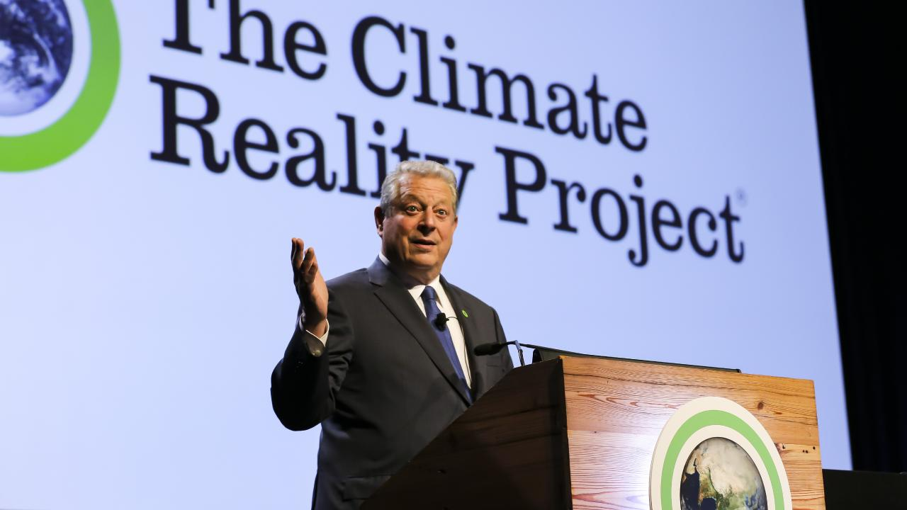 Al Gore speaking at the Climate Reality Leadership Corps training at the Brisbane Convention and Exhibition Centre in South Brisbane. Pic Mark Cranitch.