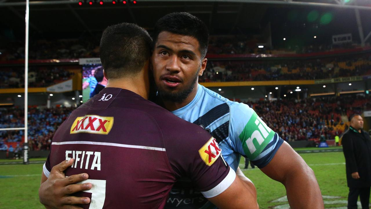 Broncos teammates David Fifita and Payne Haas hug it out after the match. Picture: Adam Head