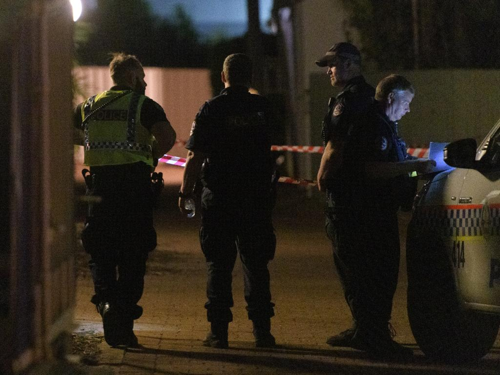 Police cordon off a block of units where a person was shot by a gunman in the suburb of The Gardens in Darwin. Picture: AAP