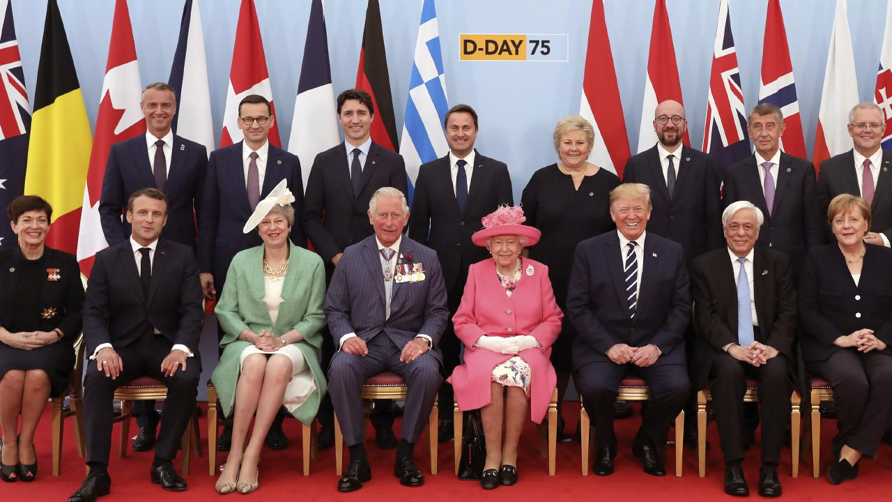 The Queen with world leaders including Australian Prime Minister Scott Morrison (top right). Picture: AP