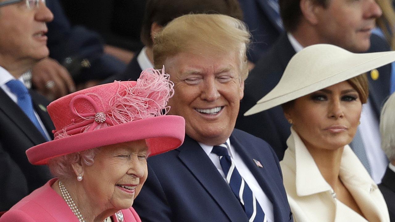Donald Trump said soemthing that made the Queen laugh. Picture: AP