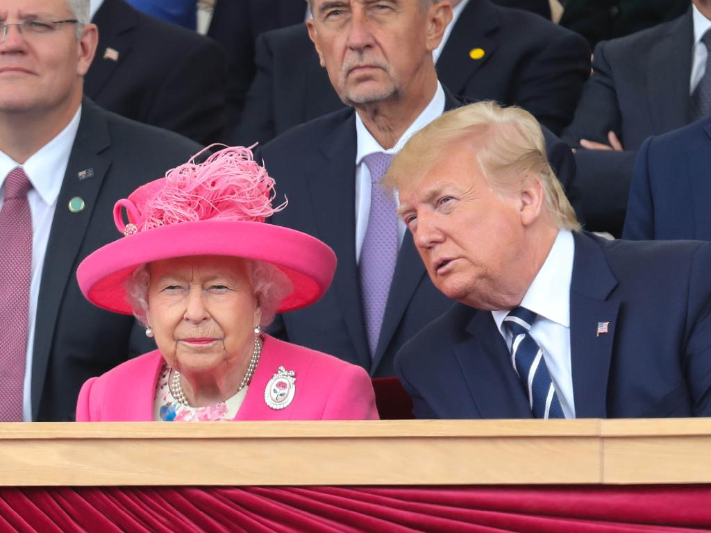 The Queen and Donald Trump athe 75th anniversary of the D-Day landings. Picture: Getty Images