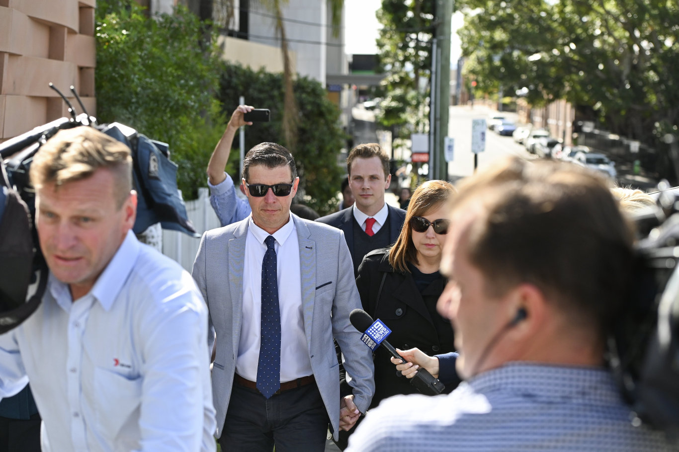 Former Ipswich Mayor Andrew Antoniolli leaves Ipswich Courthouse with his wife Karina following his guilty verdict on Thursday. Picture: Cordell Richardson.