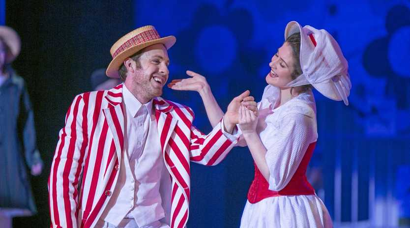 Justin Tamblyn (Bert) and Shannon Gralow (Mary Poppins) in the Empire Theatre's 2015 production.