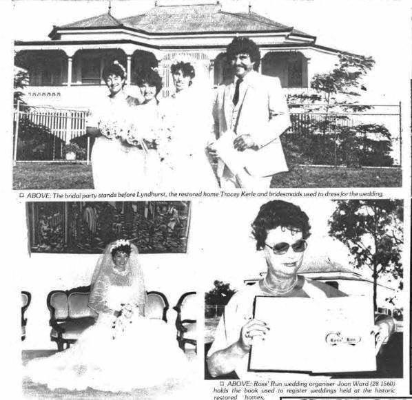 Old photos of a wedding party in front of the Lyndhurst house.
