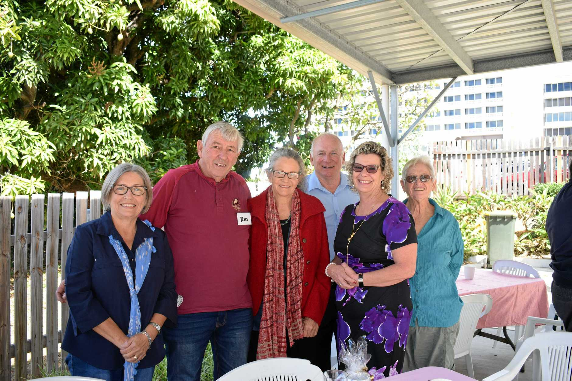 MORNING TEA: Debra Larkin, Jim Melling, Kerry Evans, Dave Walters, Philippa Walters and Jenny Cruikshank at Triumph Financial Planning's 2019 Biggest Morning Tea for Cancer Council.