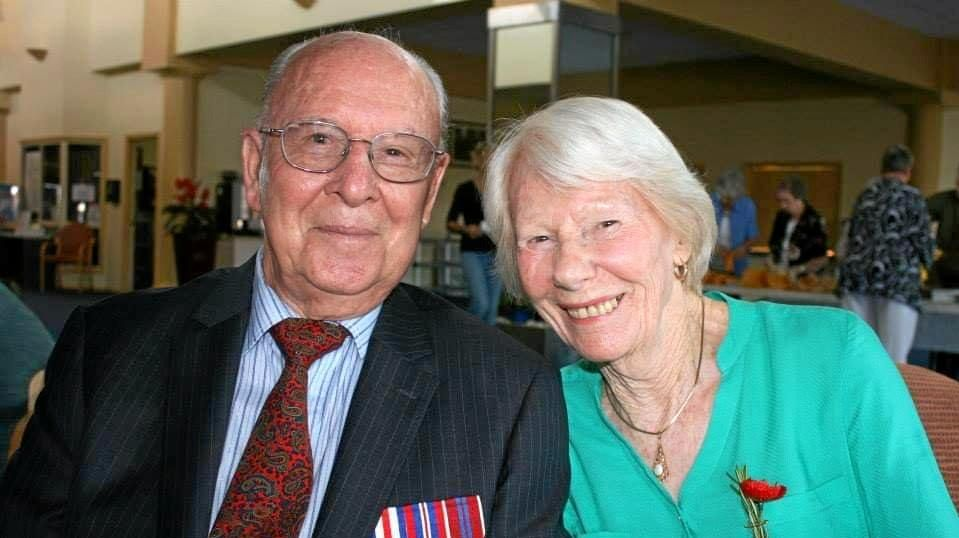 Sawtell World War II veteran Ross Kingston pictured with Betty Young today returned to Normandy to commemorate the 75th anniversary of the D-Day landing.