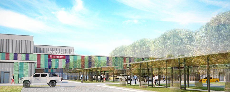 An artist's impression of what the entrance of the new Roma Hospital will look like.