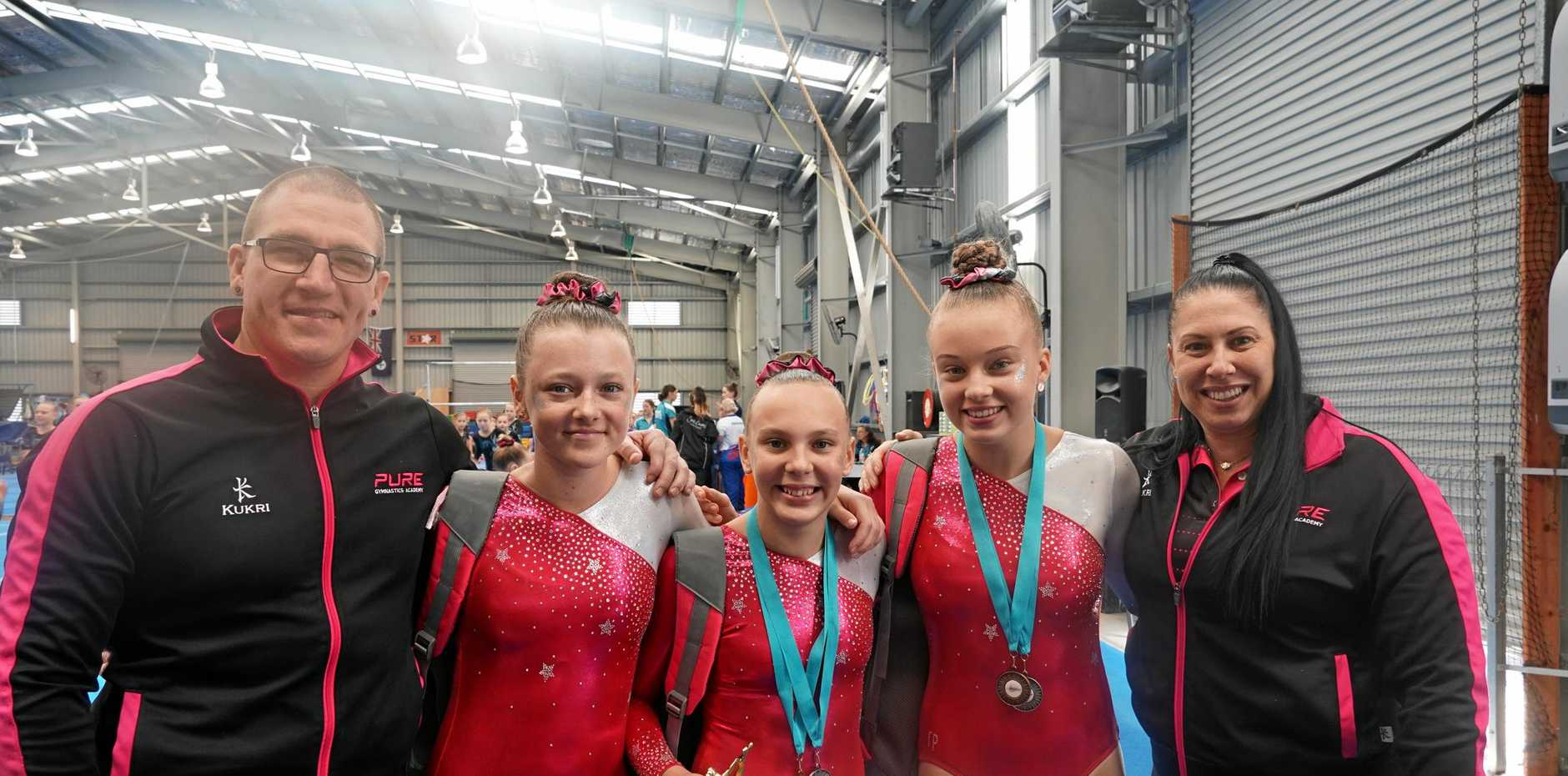 PURE SKILL: Brendan Day, Molly Ware, Anthea Campbell, Imogen Boucher and Vicki Baptie from Pure Gymnastics.