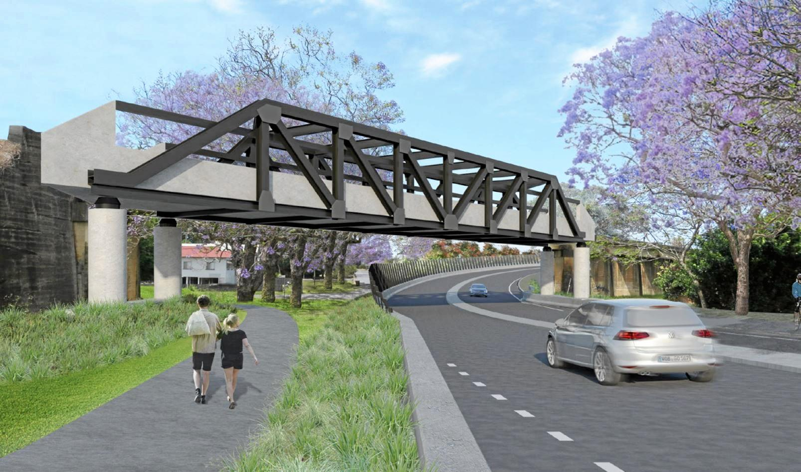 An artists impression of the new rail bridge over Pound Street on completion.