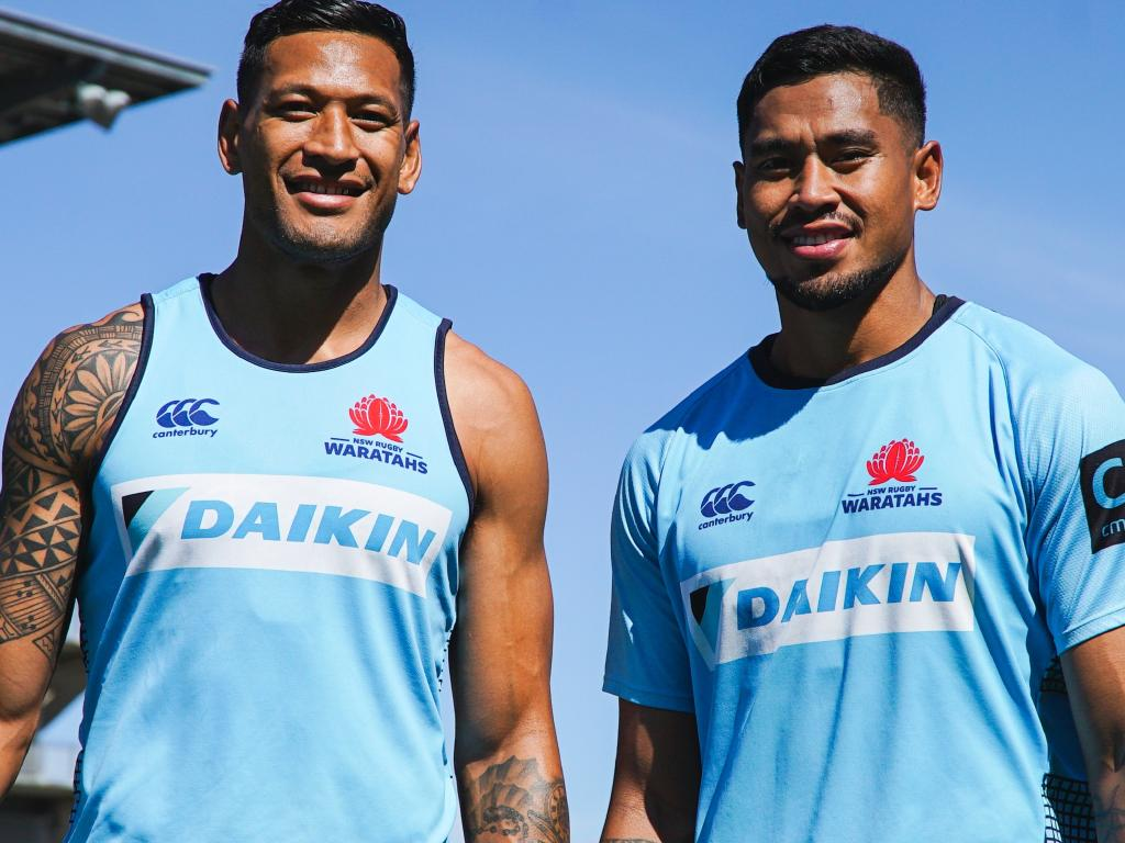 Israel Folau and his brother John at Waratahs training.