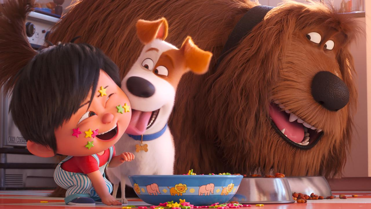 Liam, Max (Patton Oswalt) and Duke (Eric Stonestreet) in The Secret Life of Pets 2.