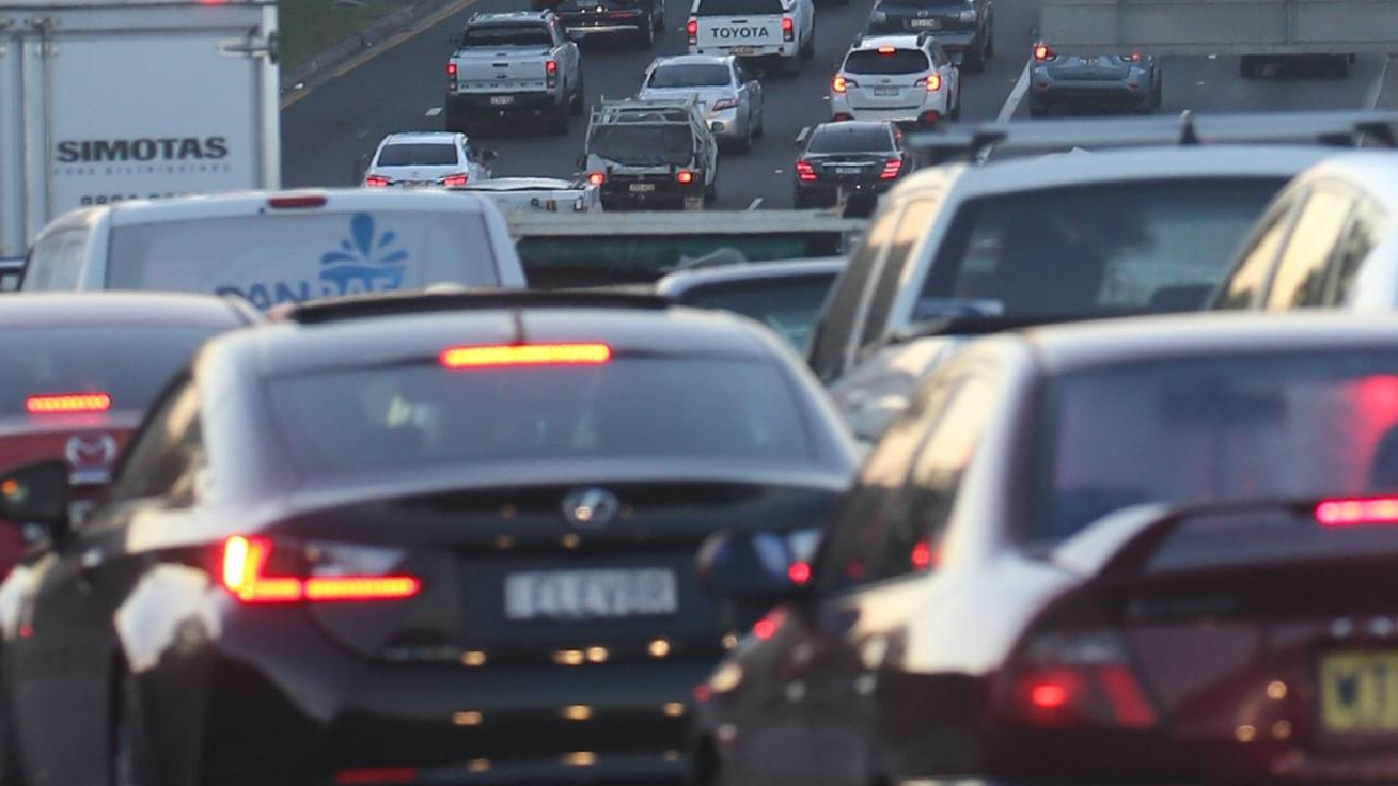 A crash has closed several lanes and an off ramp on the Captain Cook Bridge in Brisbane's CBD. Picture: John Grainger