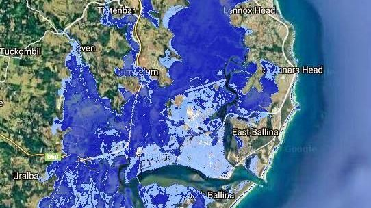 RISING TIDE: Coastal Risk Australia's 2100 predictions under a high inundation scenario would see towns like Byron and Ballina flooded.