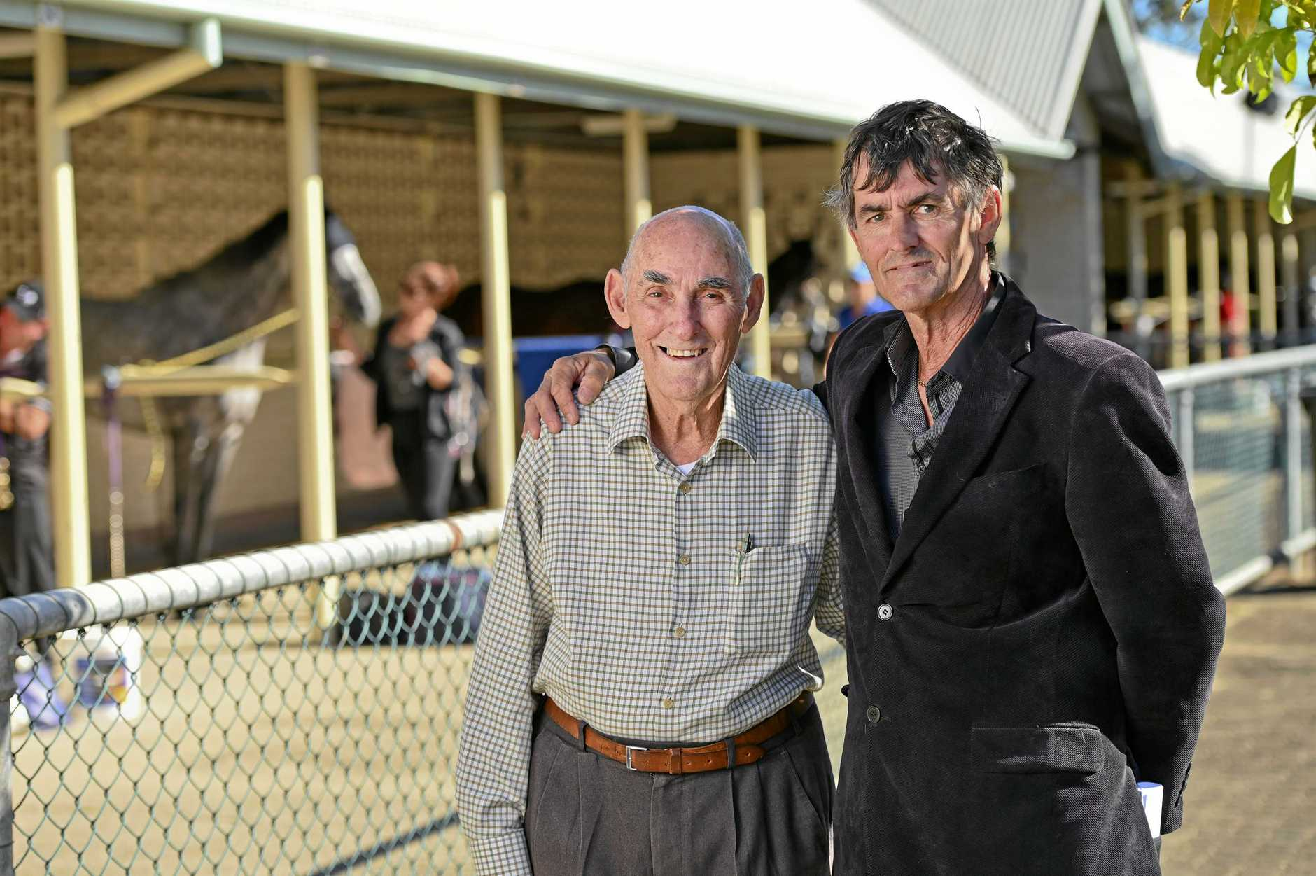 Ipswich Turf Club father and son George and David Sawyers. David is taking over as jockey room attendant from retiring dad George.
