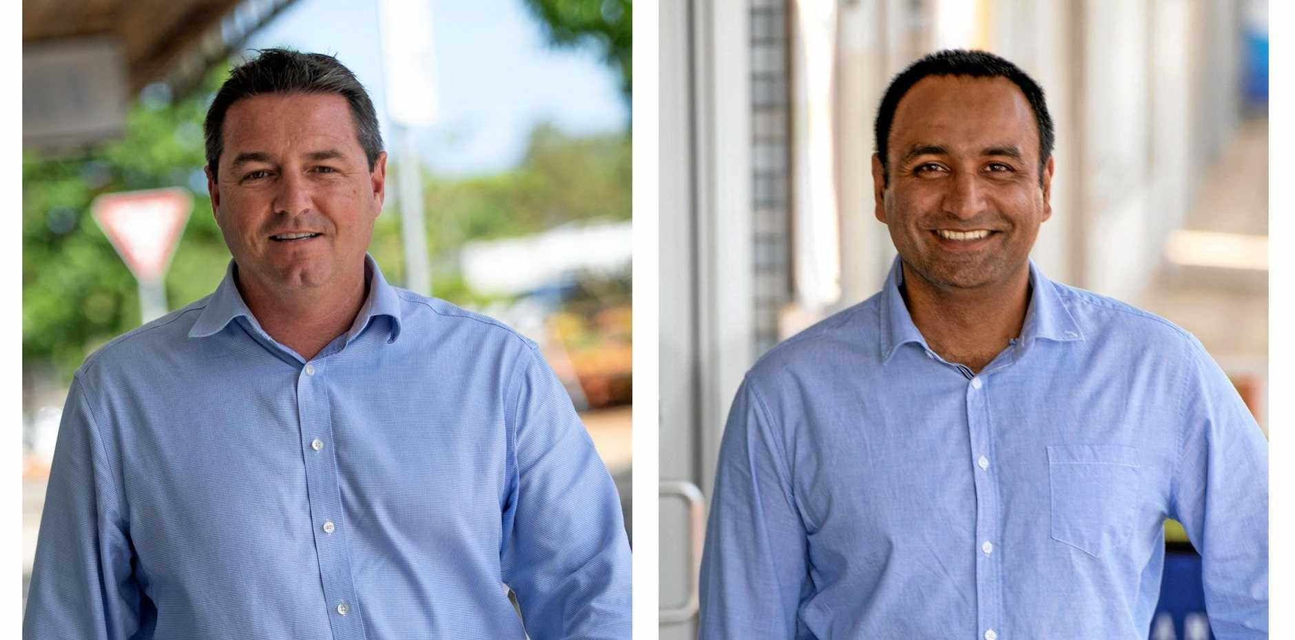 BUSINESS AS USUAL: Federal Member for Cowper Patrick Conaghan and State Member for Coffs Harbour Gurmesh Singh.
